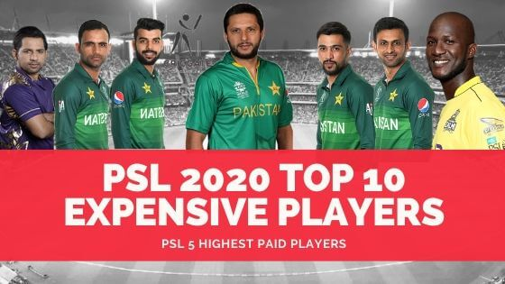 PSL 2020 Top 10 Expensive Players