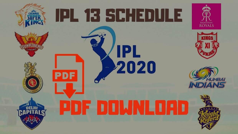Vivo IPL 2020 Schedule PDF